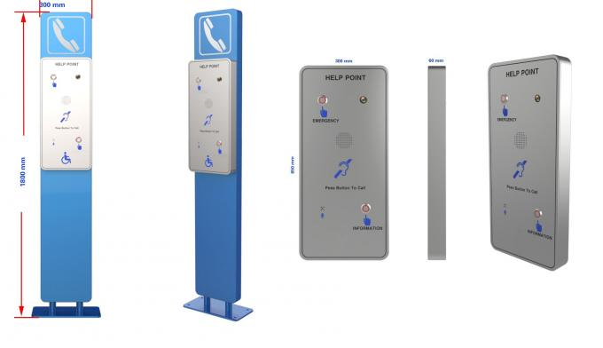 Vandal Proof Hands Free SOS Telephone Pillar With Camera And Dual Auto Dial Button