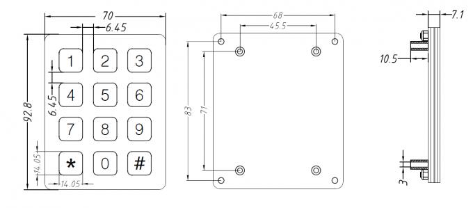 Ageing Resistance 7 Pin Vandal Proof Keypad For Weatherproof Telephone