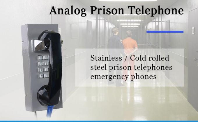 IP55-IP65 Heavy Duty Analog Phone , Stainless Steel Jail Telephone MF Tone Dialing