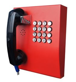 China Red Analogue Vandal Resistant Telephone For Public Kiosk / Police Stations factory