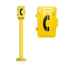 China Anti Vandal Yellow Industrial Weatherproof Telephone With Post And Key Lock factory
