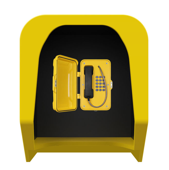 Soundproof Telephone Hood Acoustic Phone Booth Public Call Box In Yellow Color